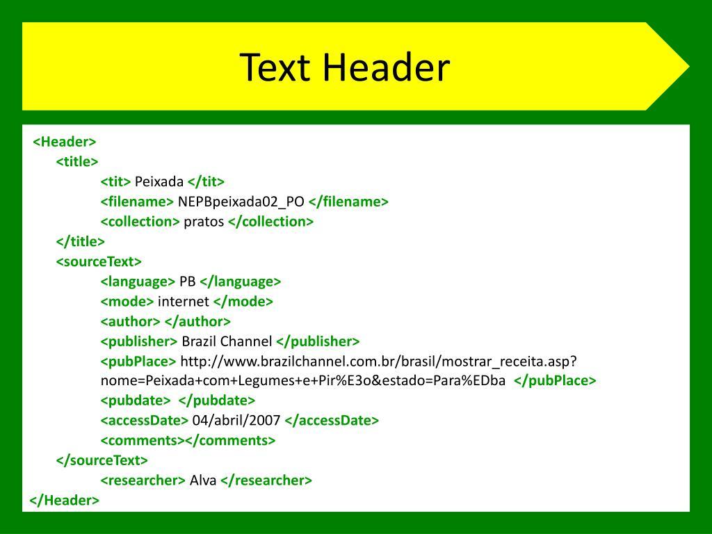 Text Header