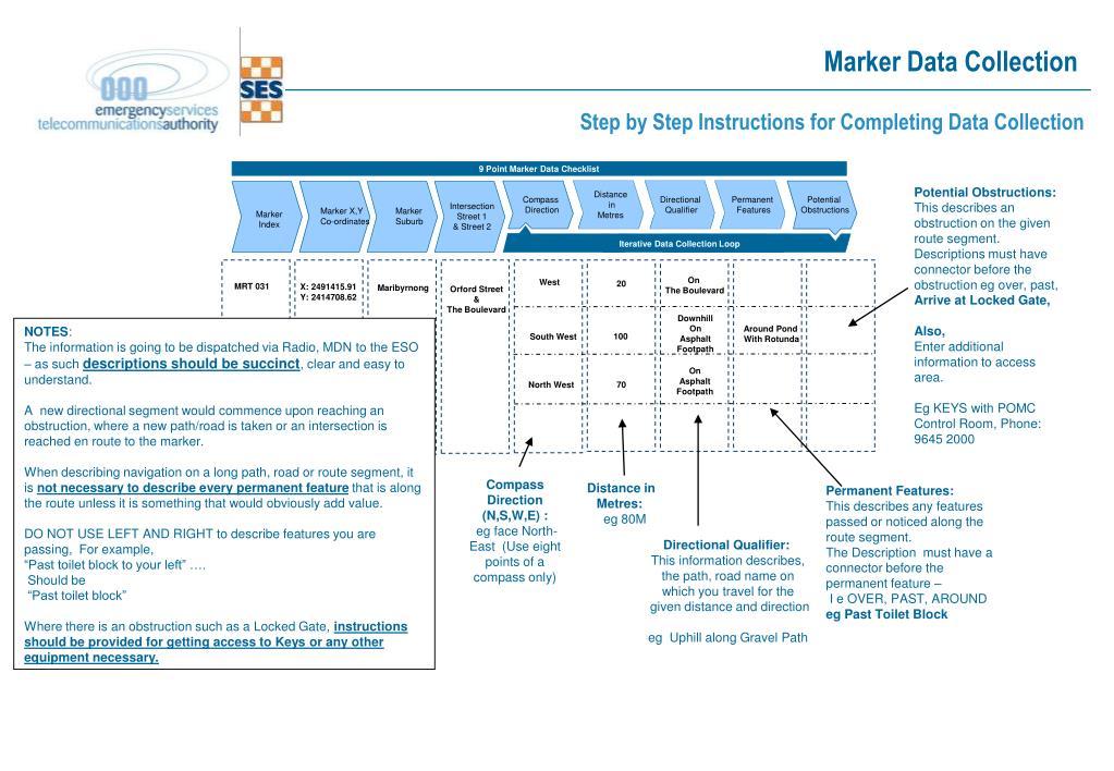9 Point Marker Data Checklist