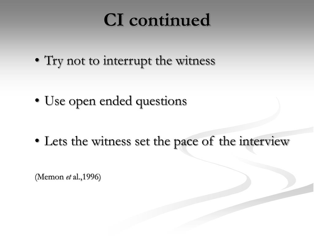 CI continued