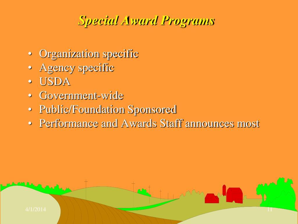 Special Award Programs