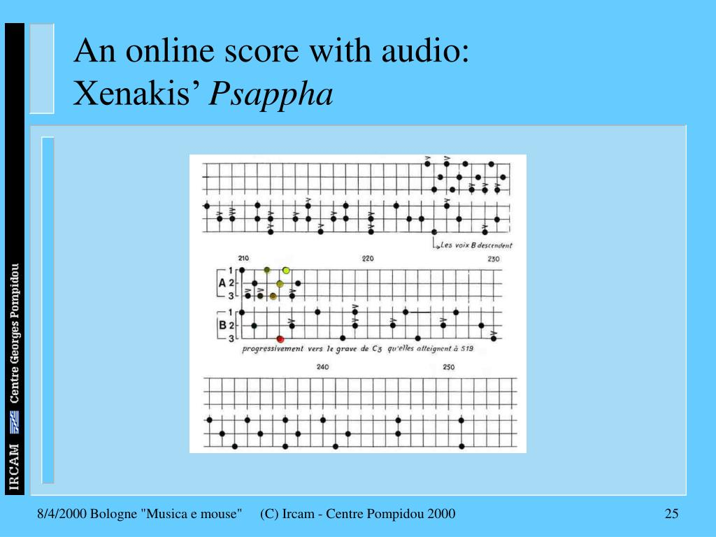 An online score with audio: