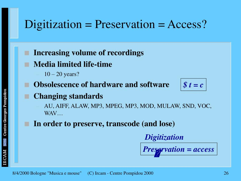 Digitization = Preservation = Access?