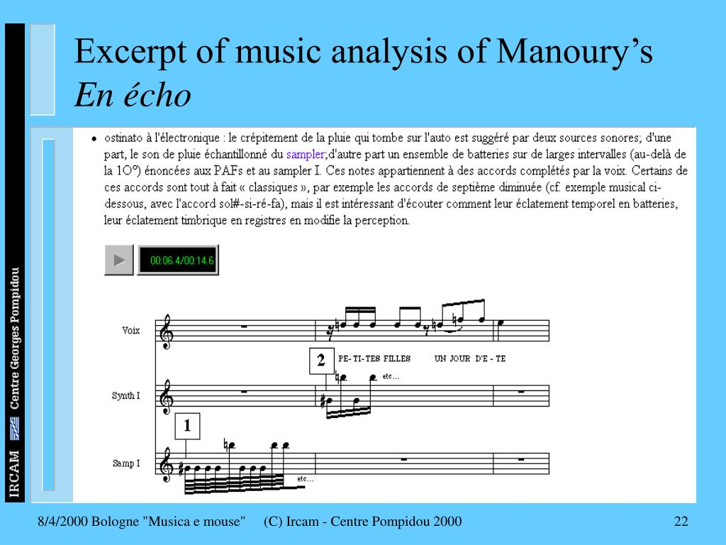 Excerpt of music analysis of Manoury's