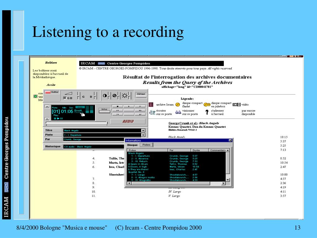 Listening to a recording
