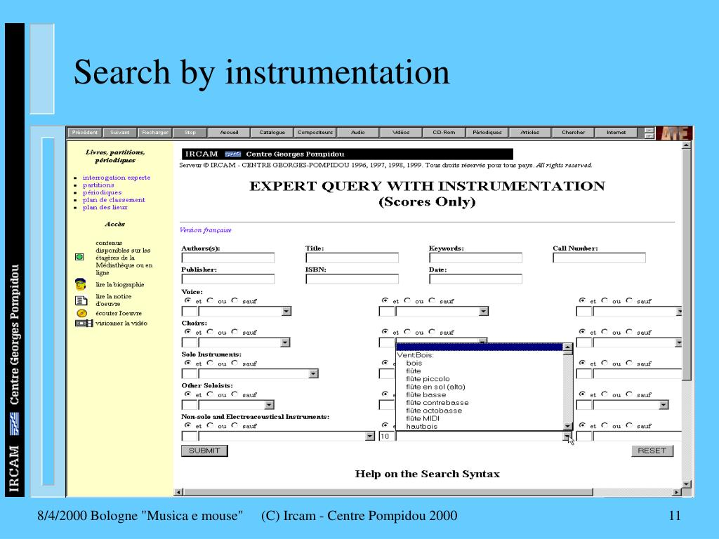 Search by instrumentation