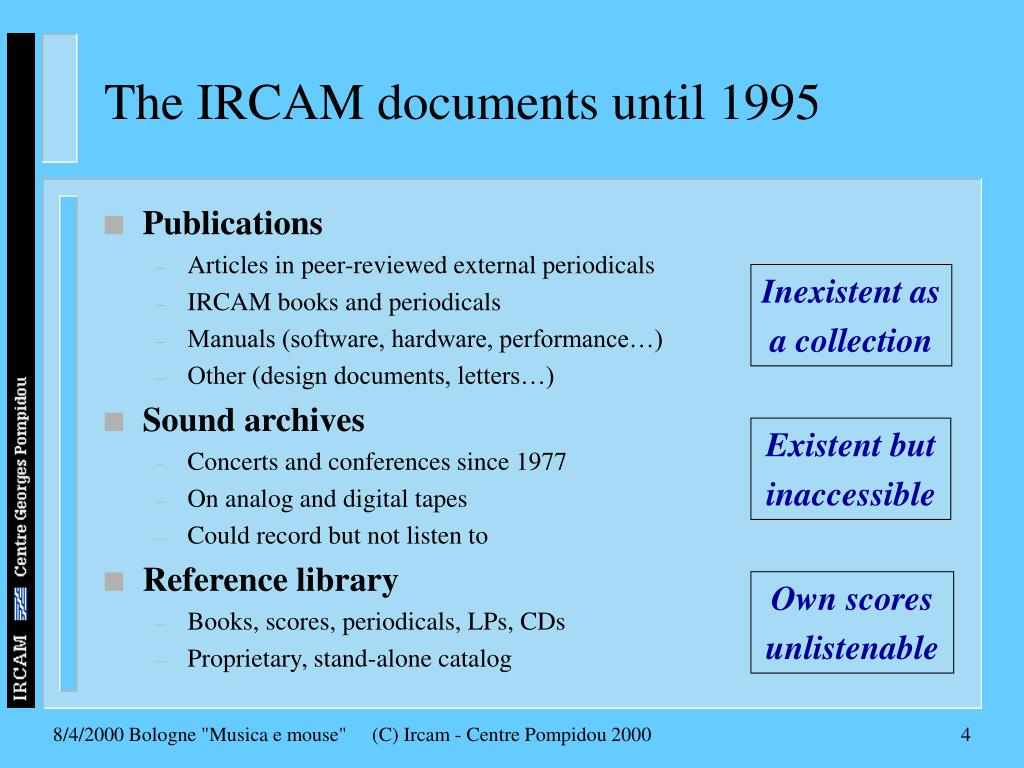 The IRCAM documents until 1995