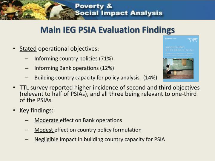 Main ieg psia evaluation findings