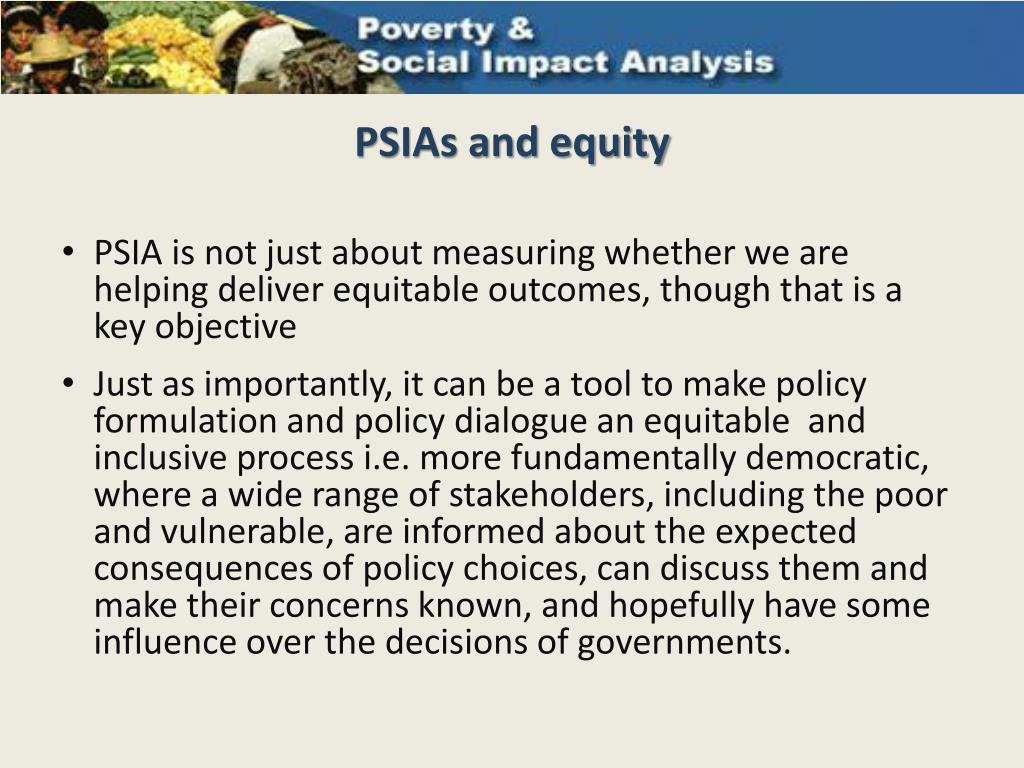PSIAs and equity