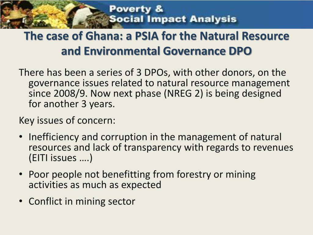 The case of Ghana: a PSIA for the Natural Resource and Environmental Governance DPO