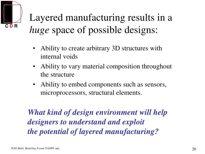 Layered manufacturing results in a