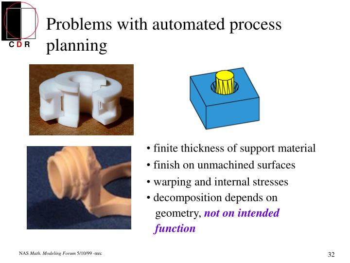 Problems with automated process planning