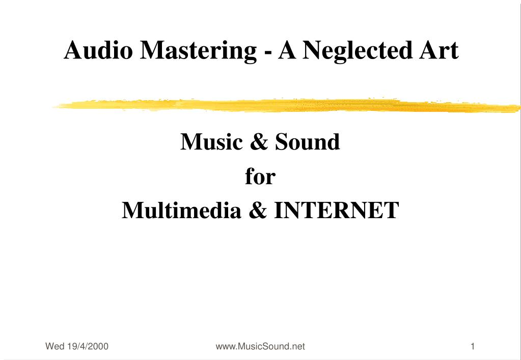 audio mastering a neglected art