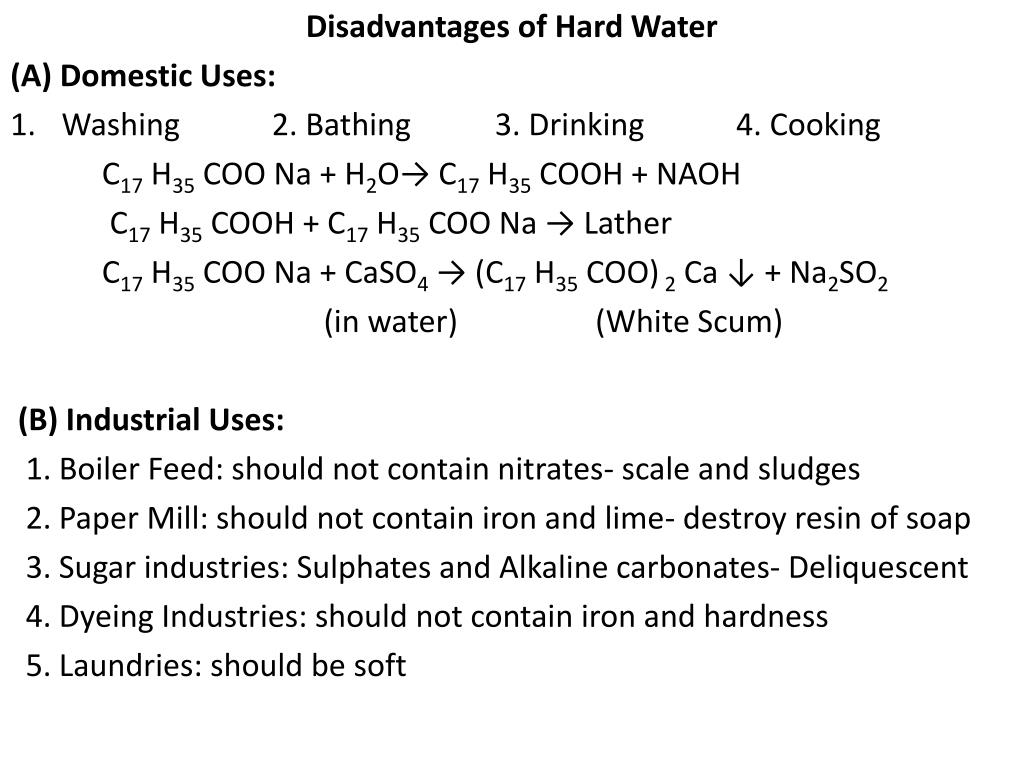 Disadvantages of Hard Water