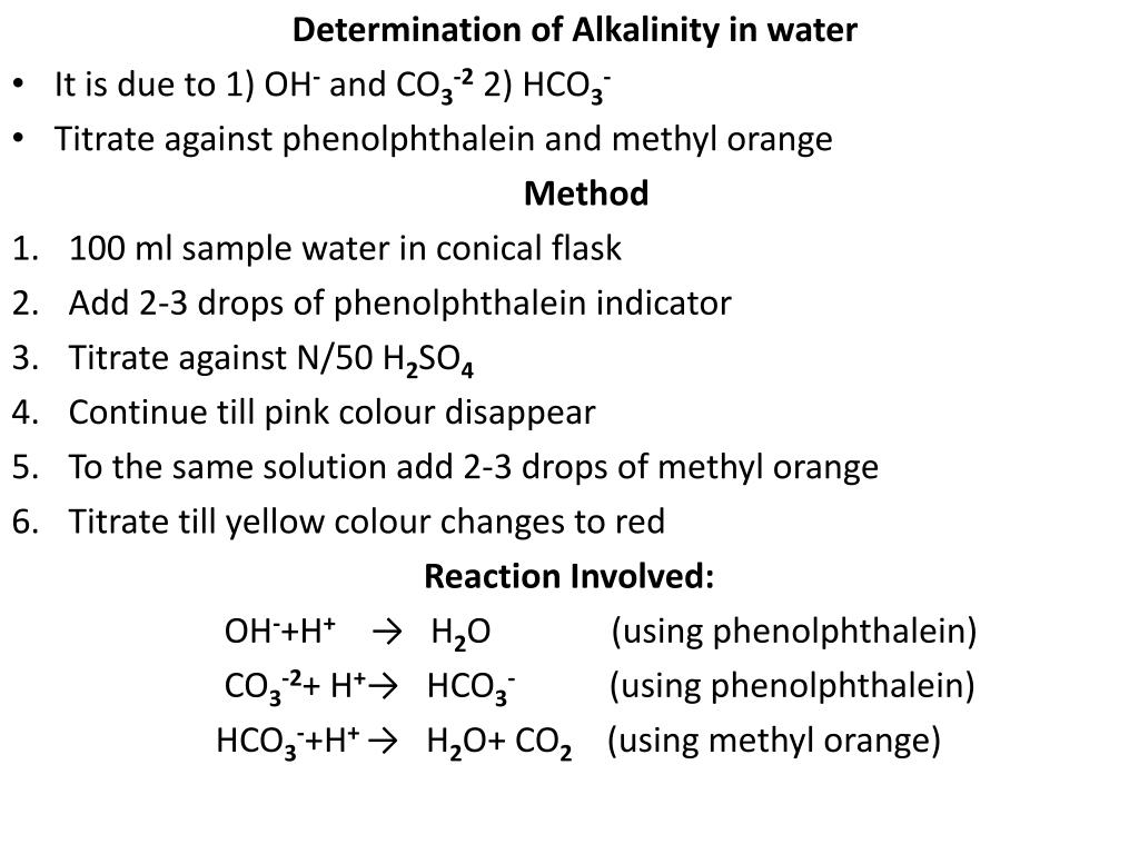 Determination of Alkalinity in water