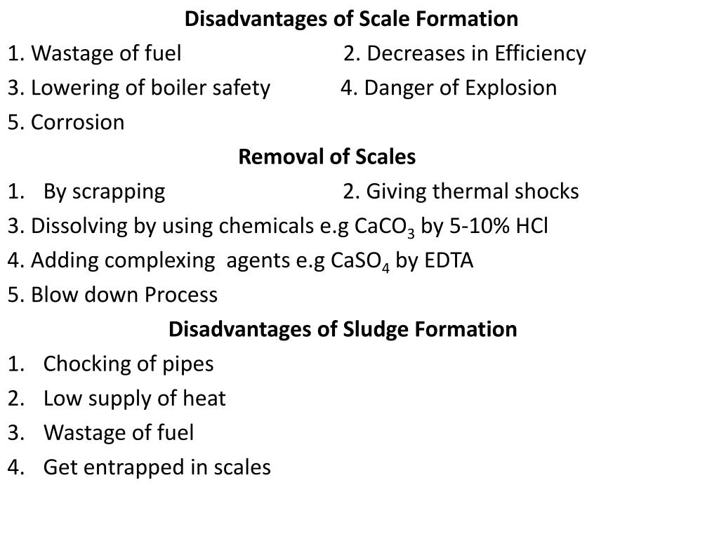 Disadvantages of Scale Formation