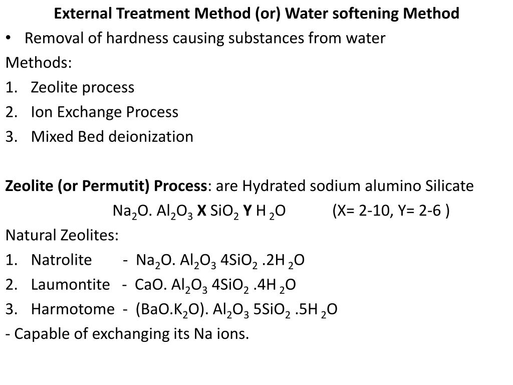 External Treatment Method (or) Water softening Method
