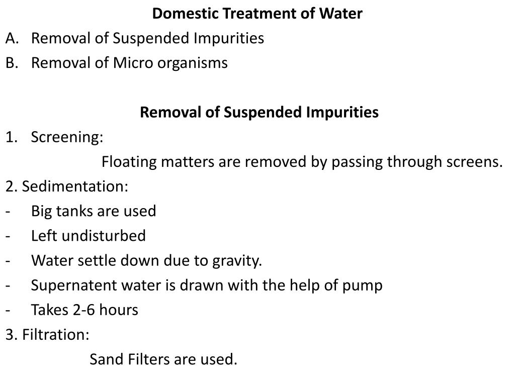 Domestic Treatment of Water