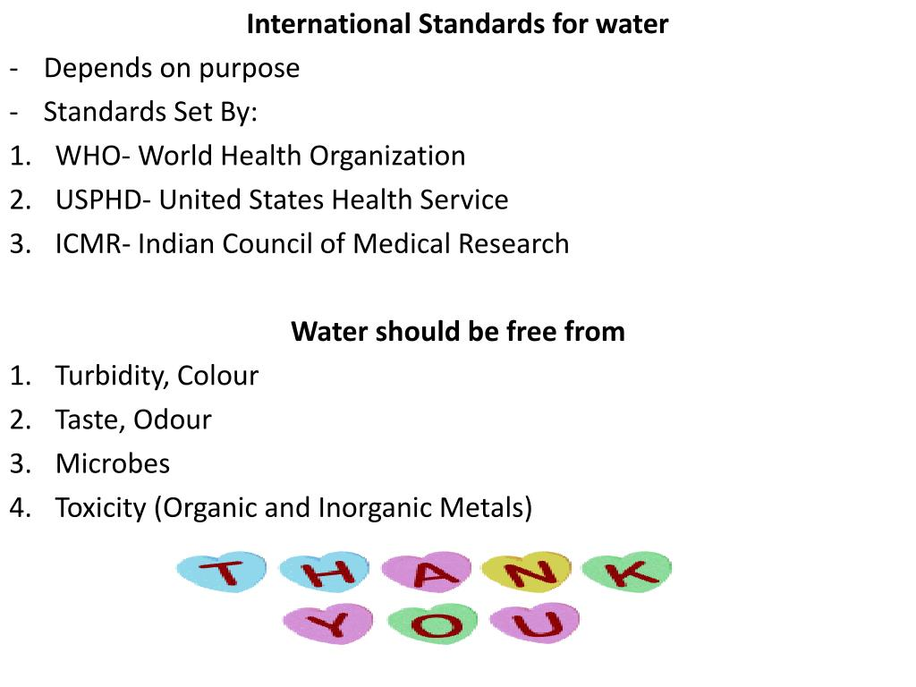 International Standards for water