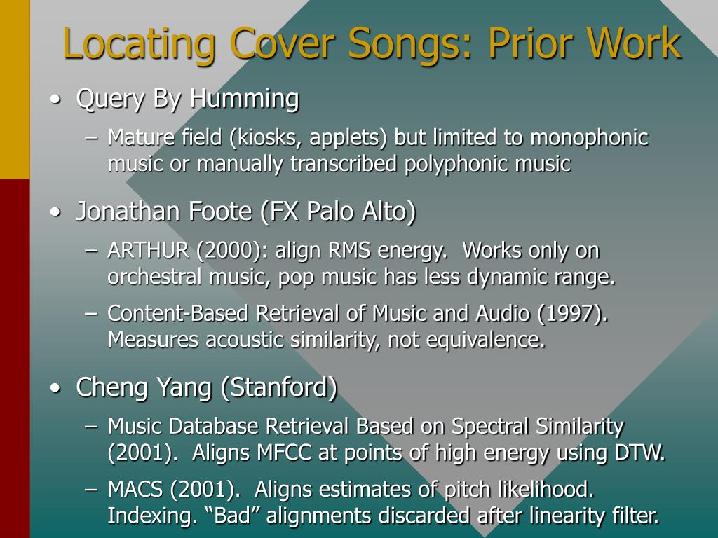 Locating Cover Songs: Prior Work