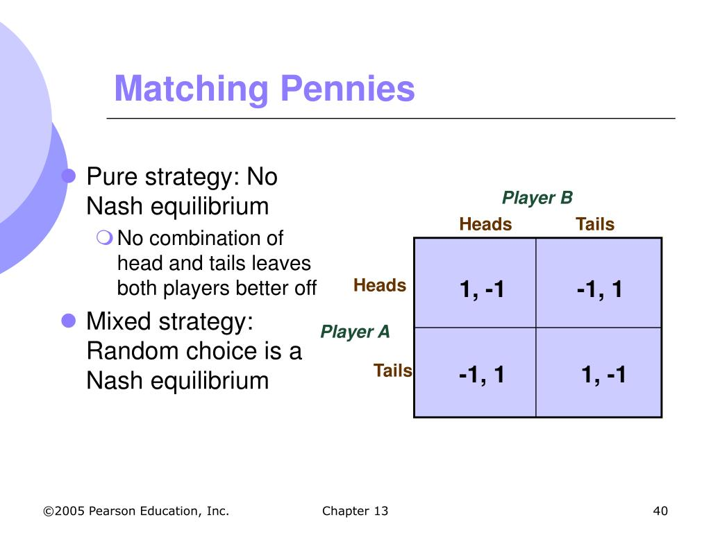Pure strategy: No Nash equilibrium