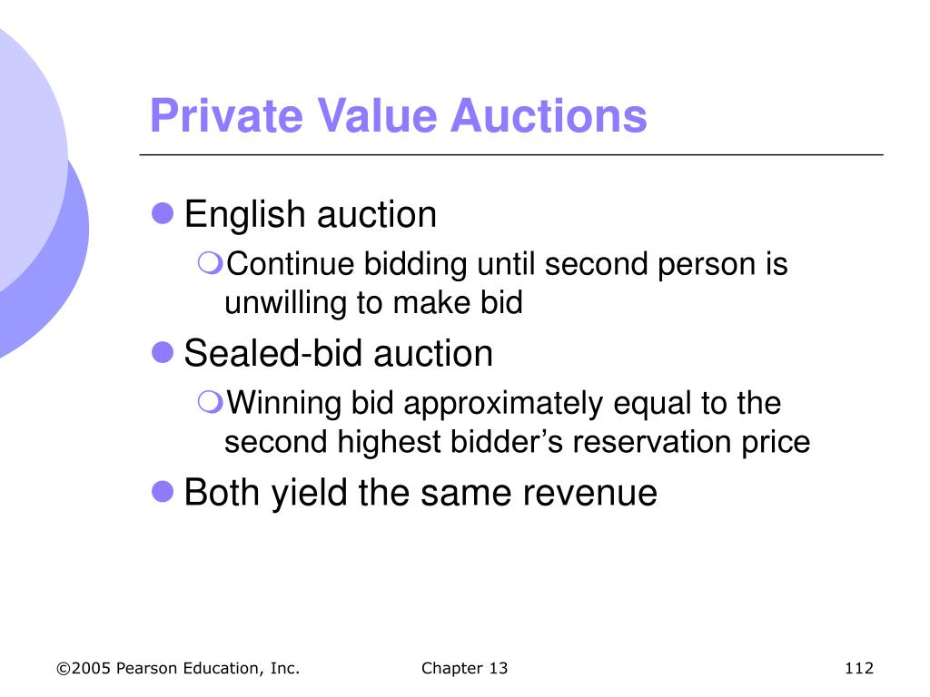 Private Value Auctions