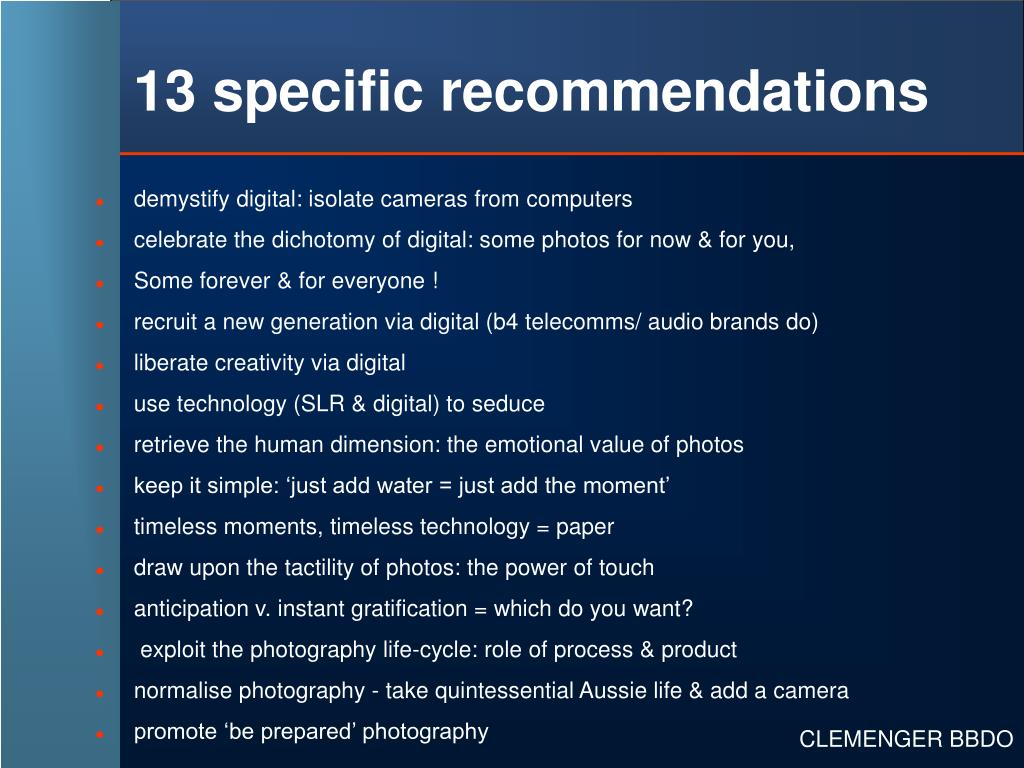 13 specific recommendations