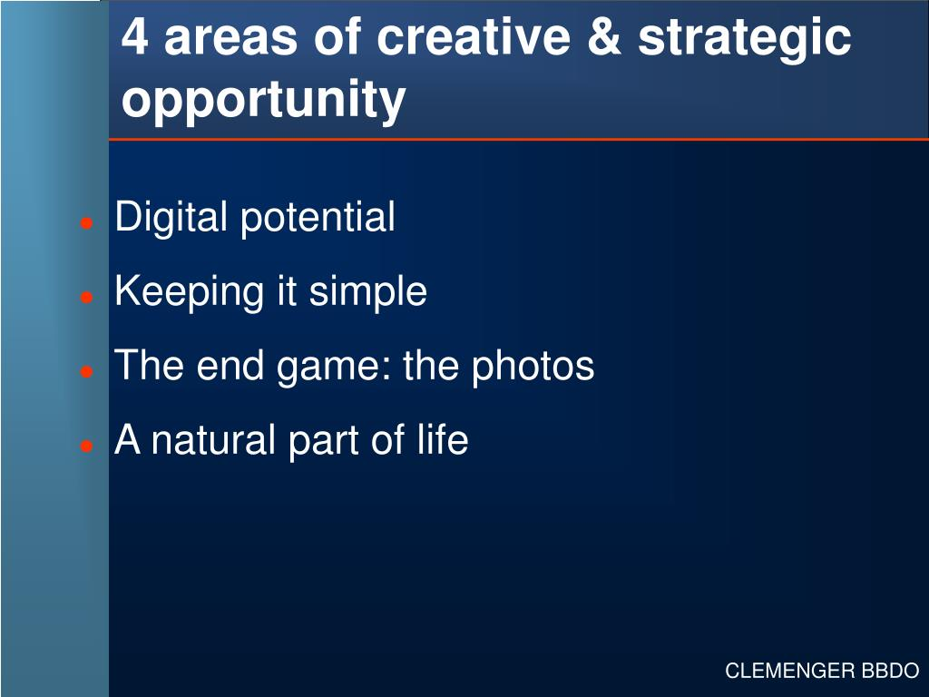 4 areas of creative & strategic opportunity