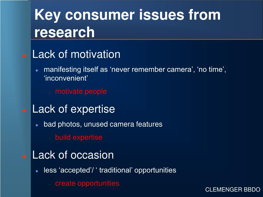 Key consumer issues from research