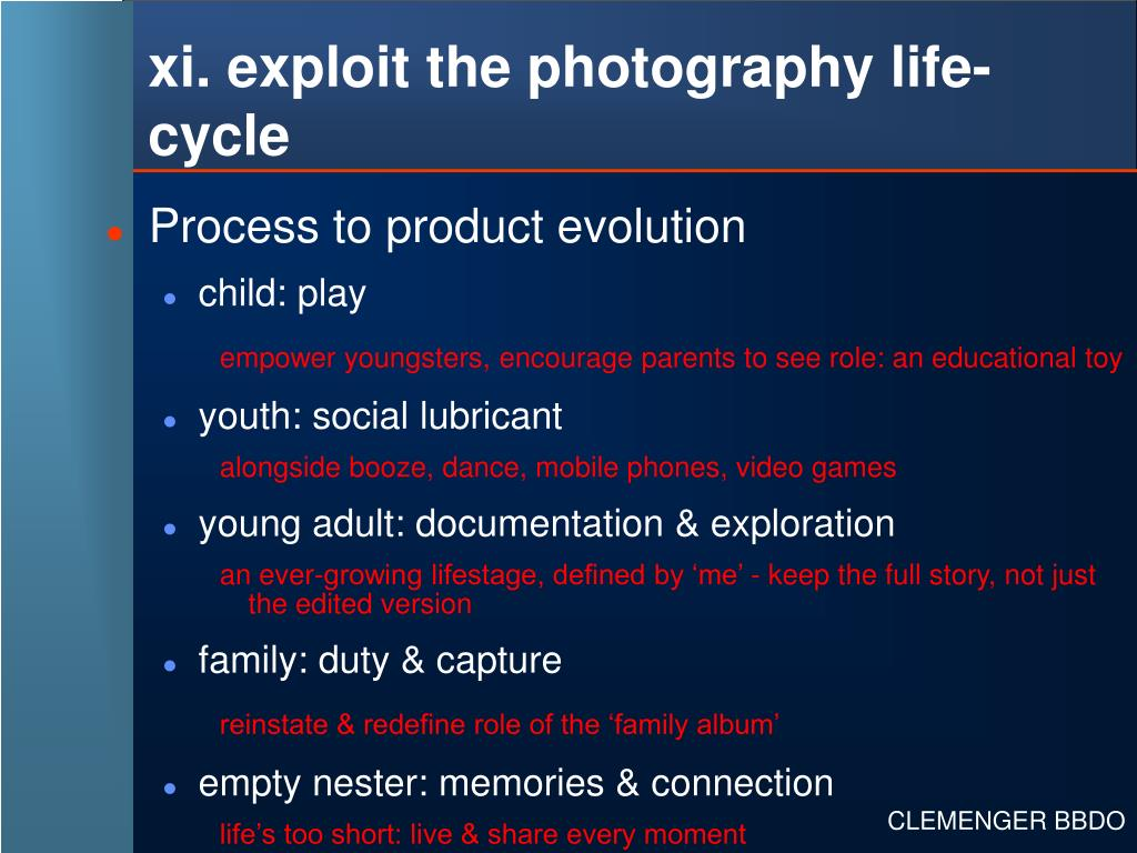 xi. exploit the photography life-cycle