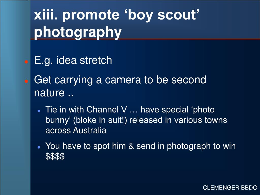 xiii. promote 'boy scout' photography