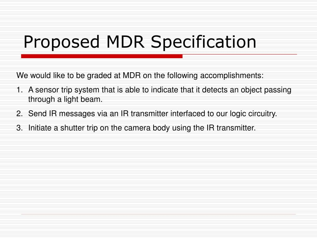 Proposed MDR Specification