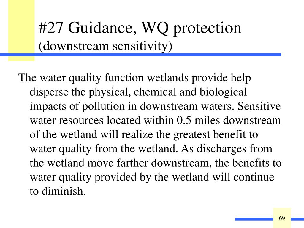 The water quality function wetlands provide help disperse the physical, chemical and biological impacts of pollution in downstream waters. Sensitive water resources located within 0.5 miles downstream of the wetland will realize the greatest benefit to water quality from the wetland. As discharges from the wetland move farther downstream, the benefits to water quality provided by the wetland will continue to diminish.