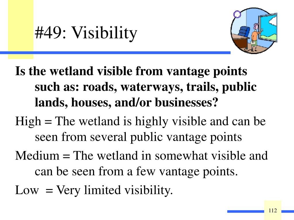 Is the wetland visible from vantage points such as: roads, waterways, trails, public lands, houses, and/or businesses?