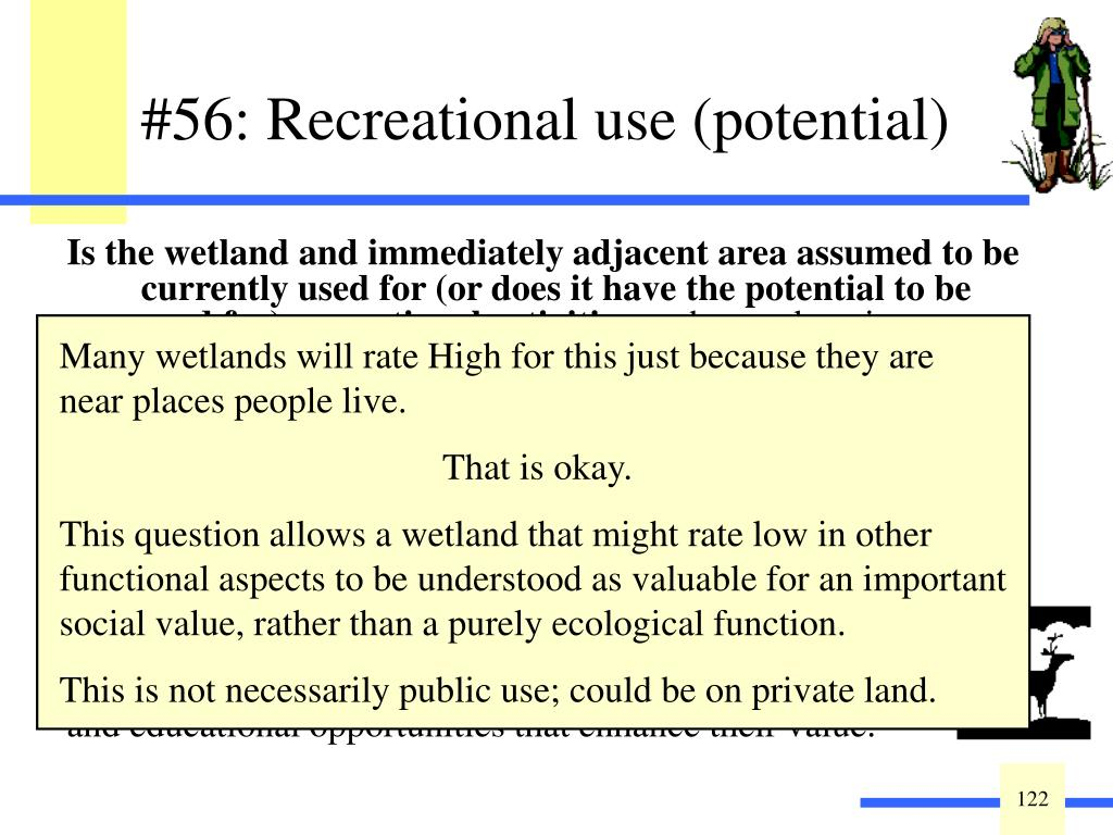 Is the wetland and immediately adjacent area assumed to be currently used for (or does it have the potential to be used for) recreational activities