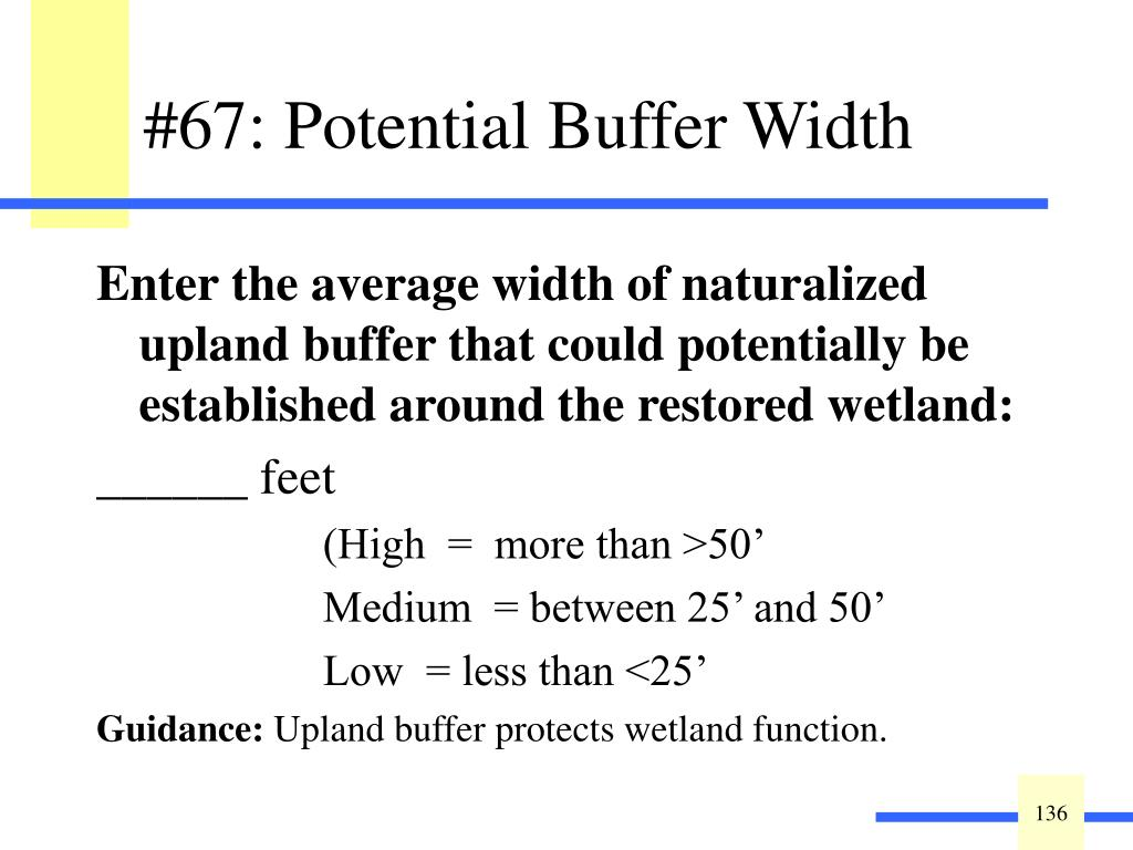 Enter the average width of naturalized upland buffer that could potentially be established around the restored wetland: