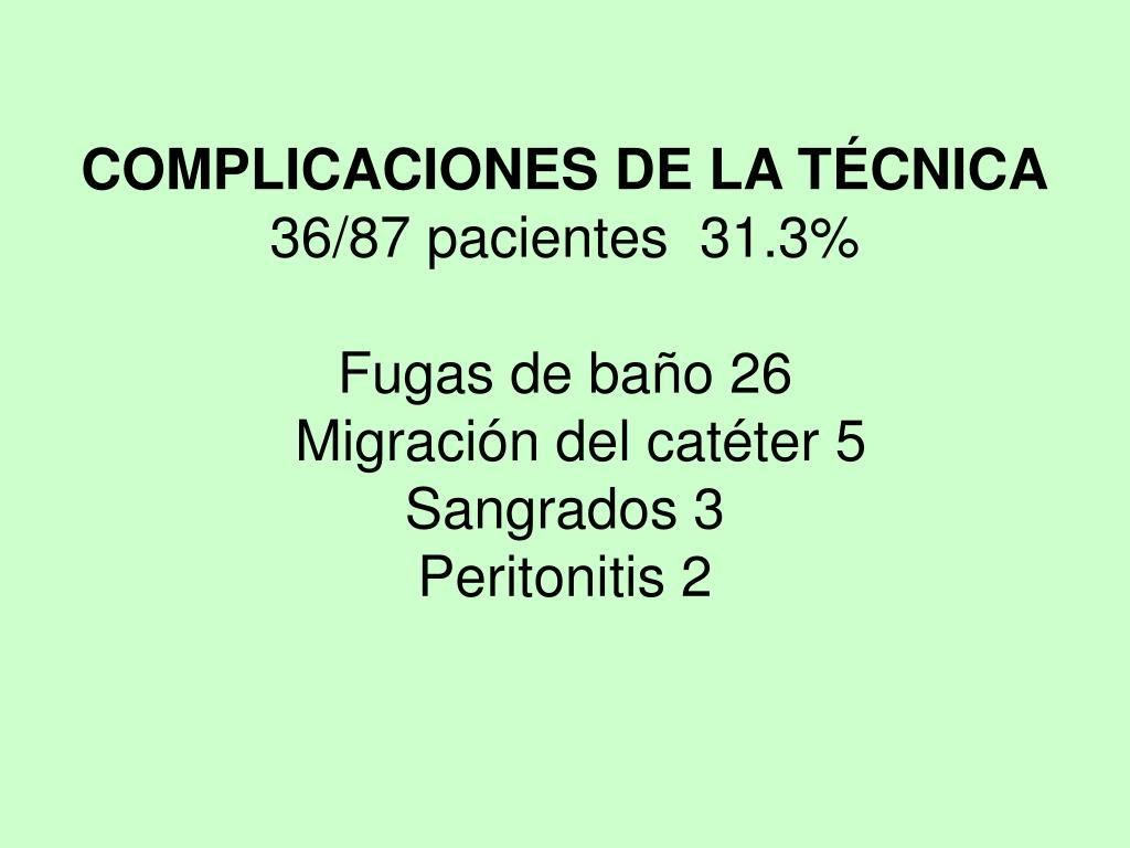 COMPLICACIONES DE LA TÉCNICA