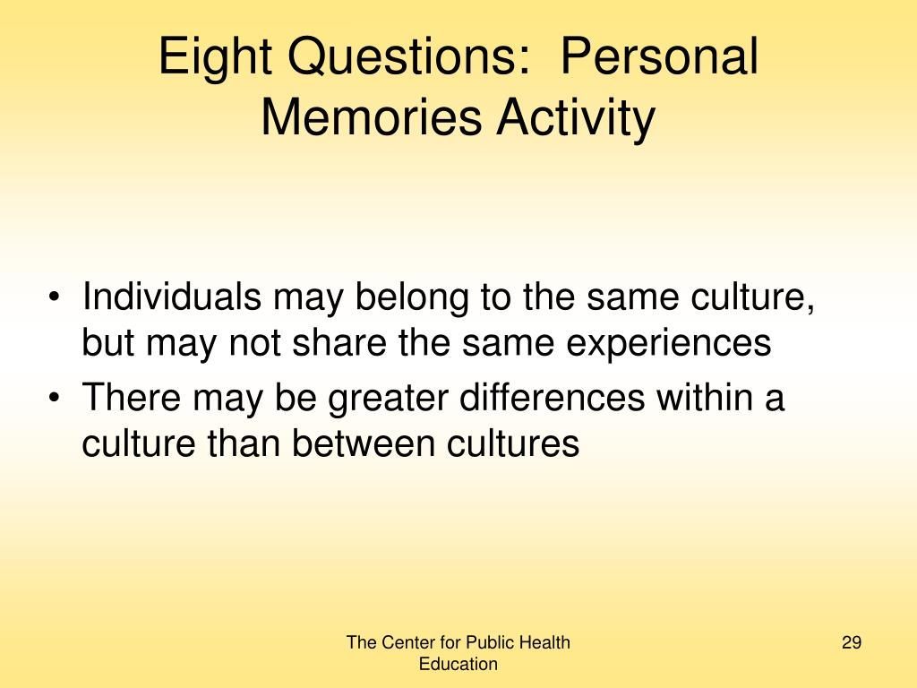 Eight Questions:  Personal Memories Activity
