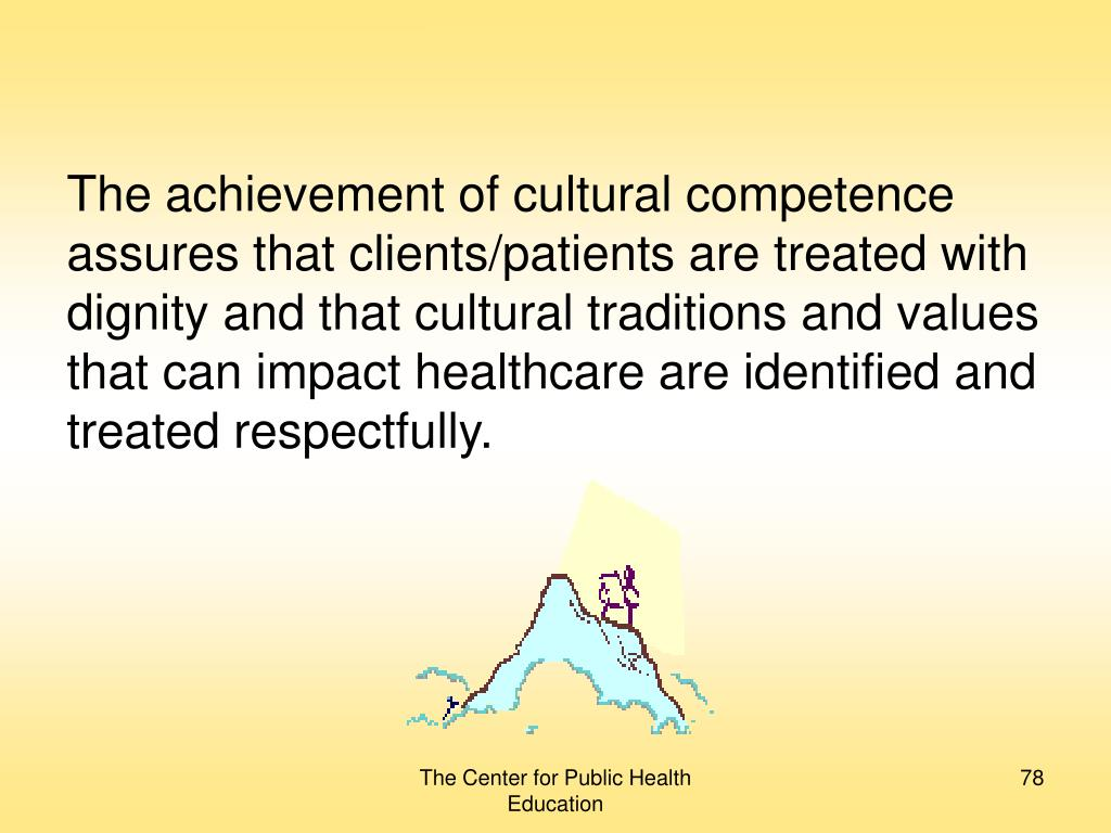The achievement of cultural competence assures that clients/patients are treated with dignity and that cultural traditions and values that can impact healthcare are identified and treated respectfully.