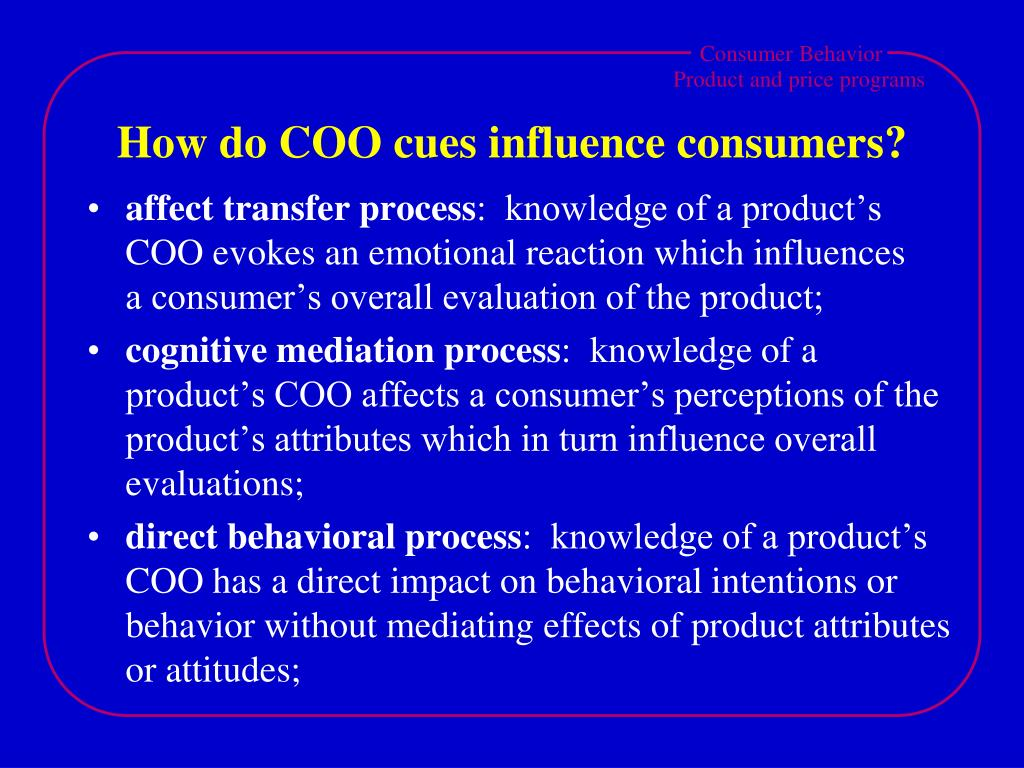 How do COO cues influence consumers?