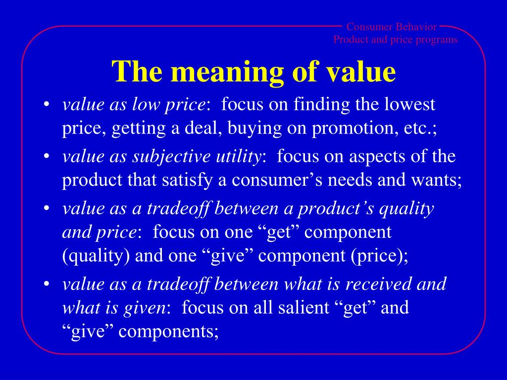 The meaning of value