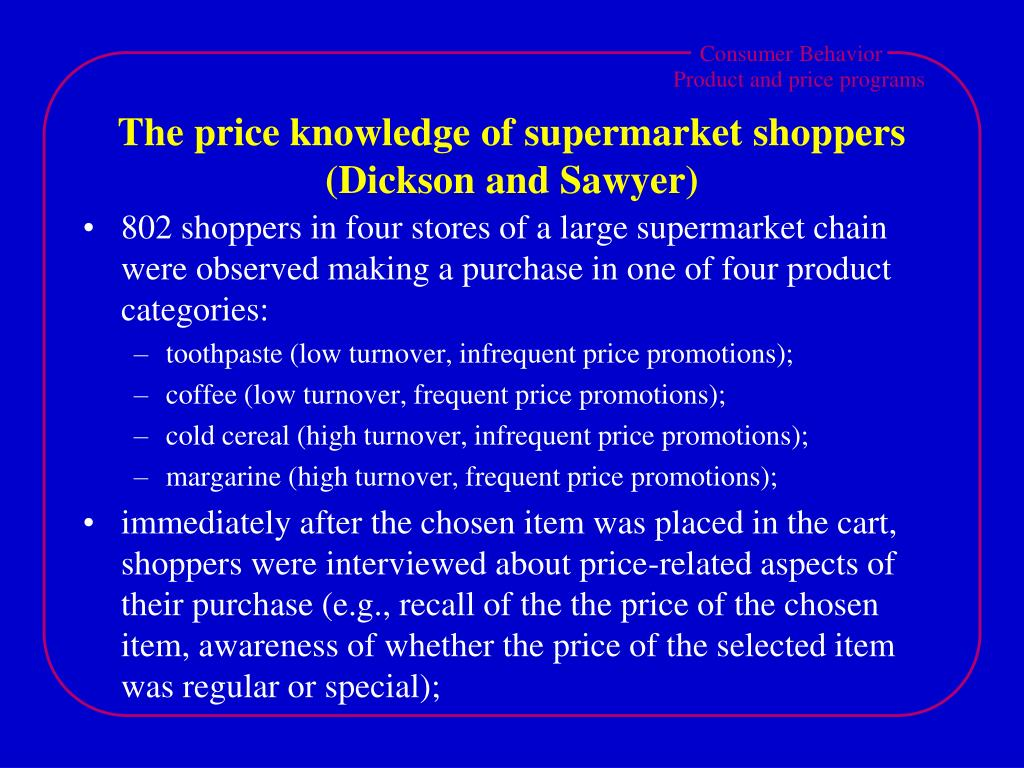 The price knowledge of supermarket shoppers (Dickson and Sawyer)