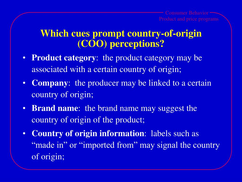 Which cues prompt country-of-origin