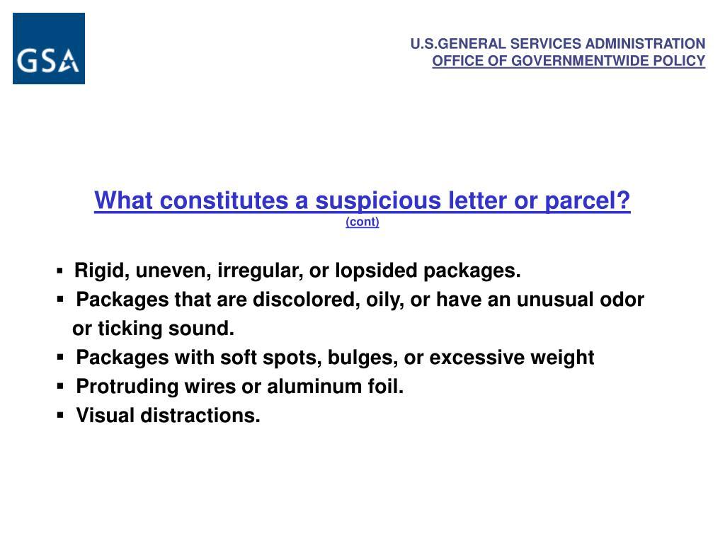 What constitutes a suspicious letter or parcel?