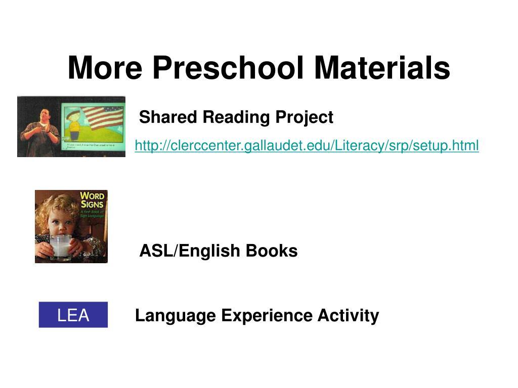 More Preschool Materials