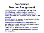 pre service teacher assignment