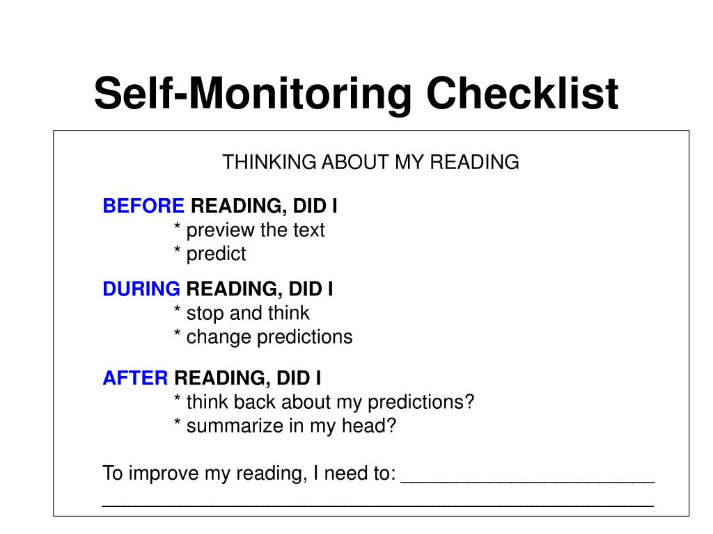 Self-Monitoring Checklist