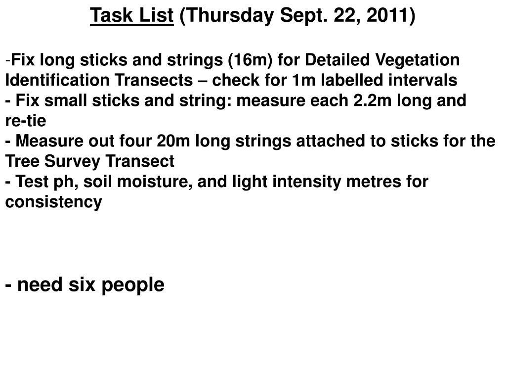 Task List