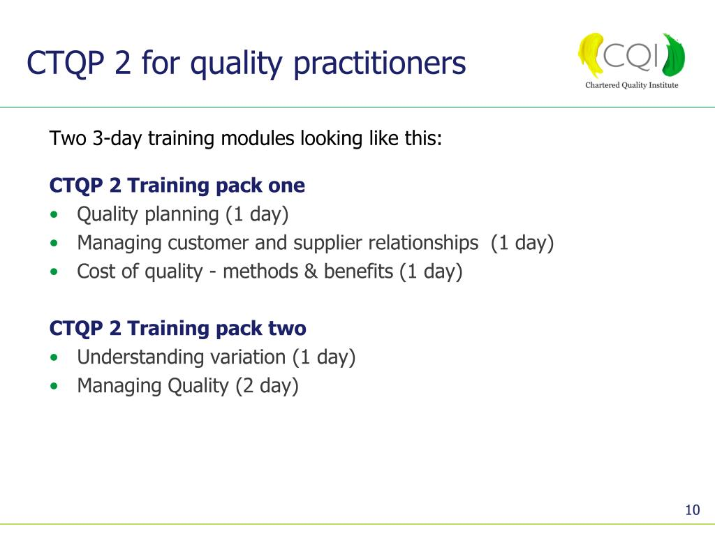 CTQP 2 for quality practitioners