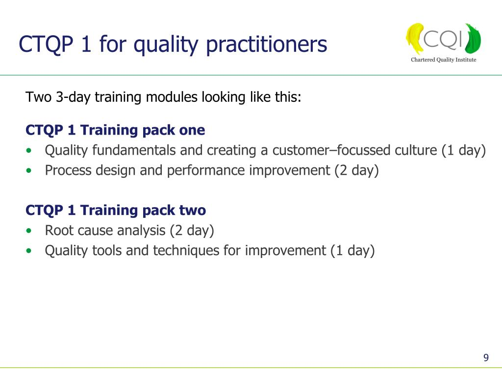 CTQP 1 for quality practitioners