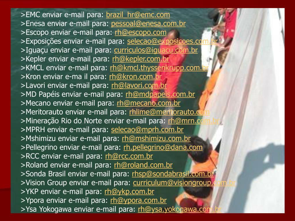 >EMC enviar e-mail para: